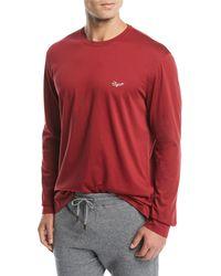 Ermenegildo Zegna - Men's Long-sleeve Logo-embroidered T-shirt - Lyst