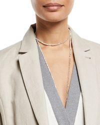 Brunello Cucinelli - Silver Variegated Single Strand Lariat Necklace - Lyst