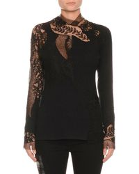 Ermanno Scervino - Long-sleeve Floral-lace Pashmina Top - Lyst