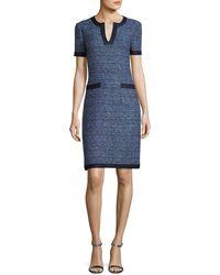 St. John | Short-sleeve Tweed Dress | Lyst