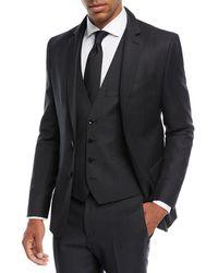 BOSS - Herringbone Wool Three-piece Suit - Lyst