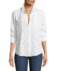 Rails - Kate Lip-print Silk Button-front Shirt With Pocket - Lyst