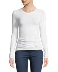 Enza Costa Ribbed Fitted Long-sleeve Crewneck Sweater - White