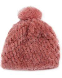 Pologeorgis - Knitted Fur Hat W/ Pompom - Lyst