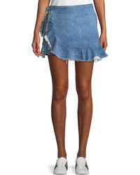 DL1961 - Hadley Frayed Denim Mini Skort - Lyst