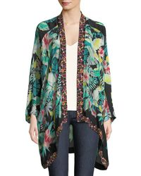 Johnny Was - Solomio Georgette Printed Caftan W/ Embroidered Trim - Lyst