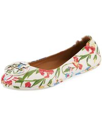 Tory Burch - Minnie Floral Travel Logo Ballerina Flat - Lyst