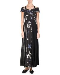 Proenza Schouler | Long Pleated Floral-print Dress | Lyst