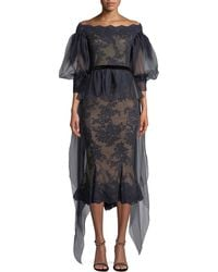 Marchesa - Off-the-shoulder Organza Balloon Sleeve Lace Blouse - Lyst