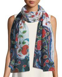 ESCADA - Pottery Floral-print Cotton-silk Scarf - Lyst