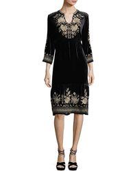 Johnny Was - Magdalene 3/4-sleeve Embroidered Velvet Dress - Lyst