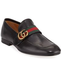 e3619b9637d9 Lyst - Gucci Donnie Web Leather Loafer in Black for Men