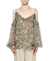 0c6cdd6b0ba133 Lyst - 3.1 Phillip Lim Meadow Floral Silk Cold-shoulder Top in Black