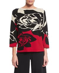 Joan Vass - 3/4-sleeve Rose Intarsia Sweater - Lyst