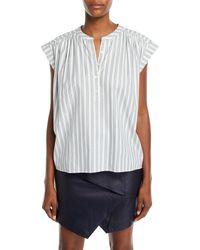 Joie - Jacquita Shadow-stripe Cotton Cap-sleeve Top - Lyst