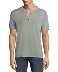 John Varvatos - Men's Short-sleeve Snap Henley Shirt - Lyst