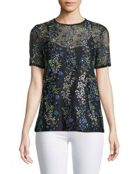 Elie Tahari - Val Botanical Vines Sheer Top - Lyst