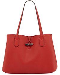 f14d20e329c1 Lyst - Longchamp Roseau Essential Medium Leather Shoulder Tote Bag ...