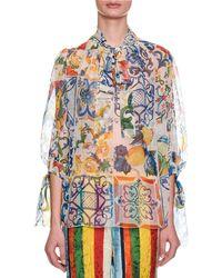 Dolce & Gabbana - Tie-neck Maiolica-print Sheer Chiffon Blouse - Lyst
