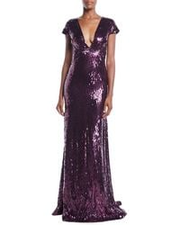 Pamella Roland - Deep-v Cap-sleeve Beaded Embellished Column Evening Gown - Lyst