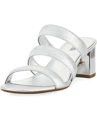 MICHAEL Michael Kors - Paloma Flex Cracked Metallic Leather Sandal - Lyst