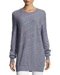 Prabal Gurung - Diagonal Cutout & Seam Merino Wool Sweatshirt - Lyst