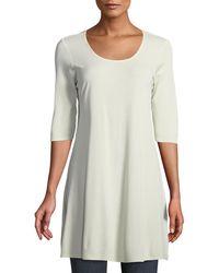 Eileen Fisher - Half-sleeve Silk Jersey Tunic - Lyst