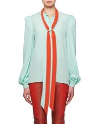 Givenchy - Tie-neck Long-sleeve Silk Crepe De Chine Blouse - Lyst