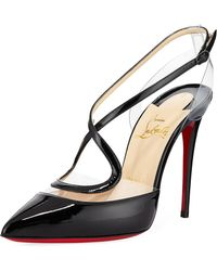Christian Louboutin - Cupidetta Leather And Pvc Red Sole Pump - Lyst