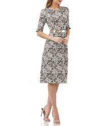 Kay Unger - Stretch Jacquard Belted Dress W/ Pockets - Lyst