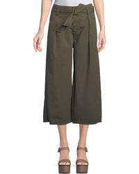 Velvet - Arisa Wide-leg Crop Cotton-twill Pants - Lyst