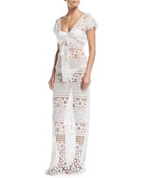 Miguelina - Reina Star Sheer Lace Maxi Dress Coverup - Lyst