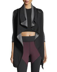 Michi - Dusk Wrap Jacket With Ribbed Sleeves - Lyst