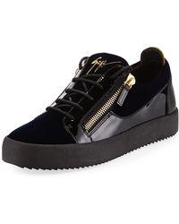 155459ccd96d2 Giuseppe Zanotti - Men's Velvet & Patent Leather Low-top Sneakers - Lyst