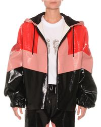MSGM - Faux-leather Colorblock Zip-front Jacket - Lyst