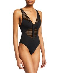 0fd566a8b6 Norma Kamali Vogue Lace Swimsuit in Black - Lyst