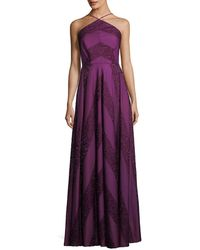 Zac Zac Posen - Renata Glitter Chevron A-line Halter Dress - Lyst