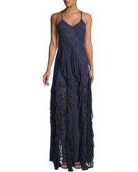 Alice + Olivia - Jayda Sleeveless Ruffle Silk Godet Maxi Dress - Lyst