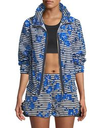Kate Spade - Hibiscus-print Striped Zip-front Active Jacket - Lyst