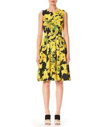 Carolina Herrera - Sleeveless Floral-print Fit-and-flare Wool-blend Day Dress - Lyst
