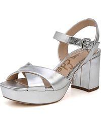 Sam Edelman Jolene Distressed Metallic Leather Block Heel Dress Sandals 1xKPM