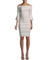 Hervé Léger - Off-the-shoulder Bell-sleeve Tiled-jacquard Body-con Cocktail Dress - Lyst