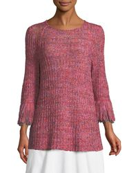 NIC+ZOE - Bazaar Fringed-cuffs Knit Top - Lyst