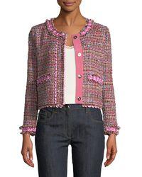 Boutique Moschino - Flower-trim Tweed Jacket - Lyst