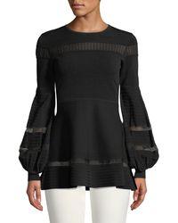 Lela Rose - Full-sleeve Knit Top W/ Lace Trim - Lyst