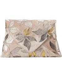 Dries Van Noten - Velvet Metallic Leaf Clutch Bag - Lyst