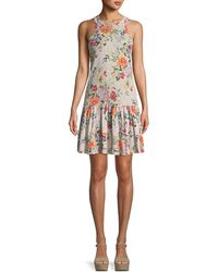 Rebecca Taylor - Marlena Sleeveless Floral-print Jersey Dress - Lyst