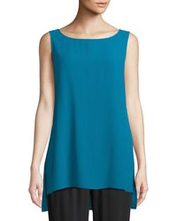 Eileen Fisher - Silk Georgette Bateau-neck Long Tank - Lyst