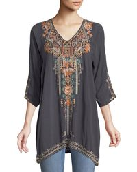 Johnny Was - Mikaela 3/4-sleeve Embroidered Tunic - Lyst