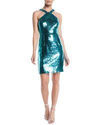 Aidan By Aidan Mattox - Sequin Halter Mini Dress - Lyst